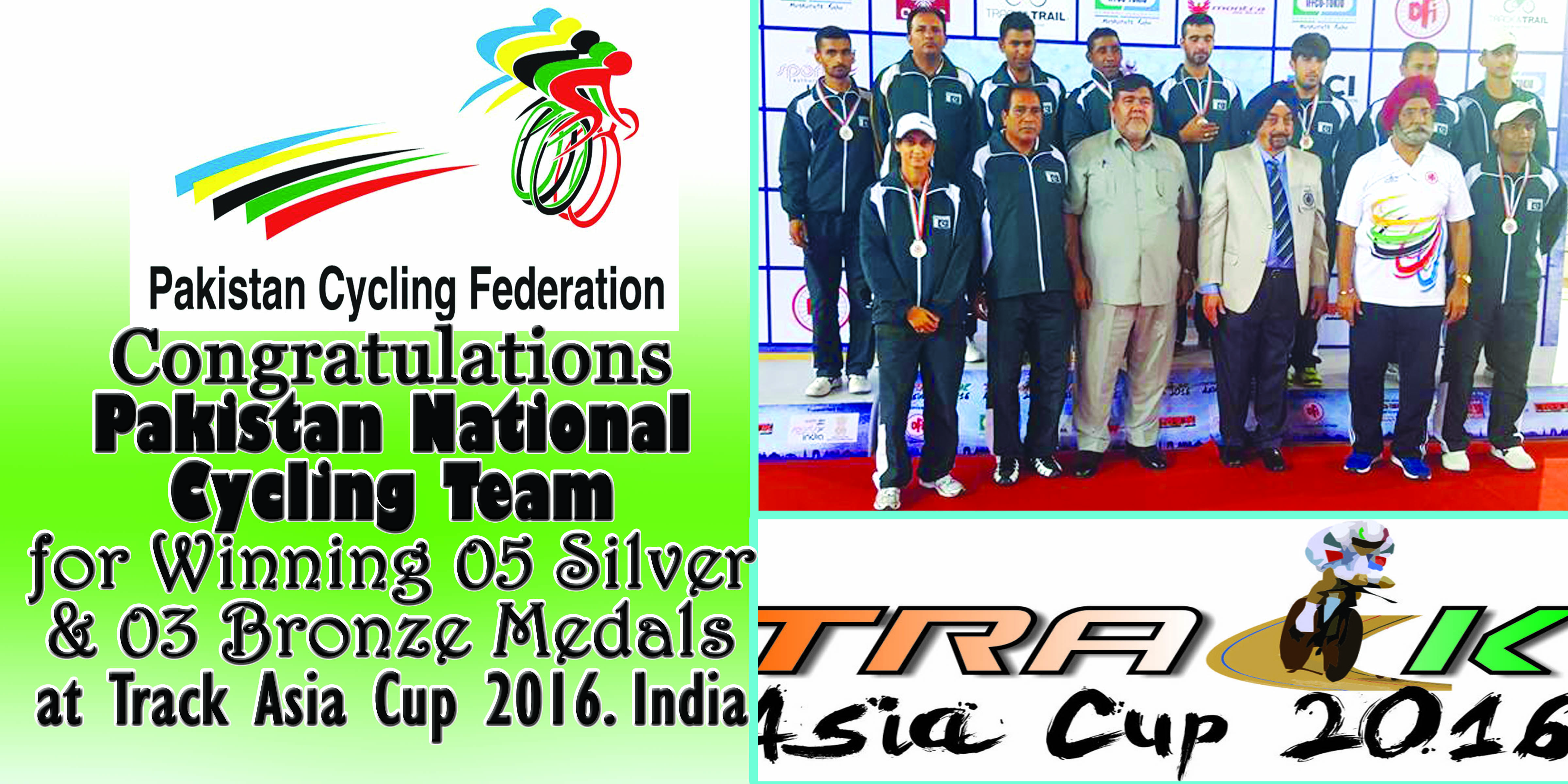 Pakistan Cycling Team Wins 2nd Position at Track Asia Cup India with 05 Silver and 02 Bronze Medals